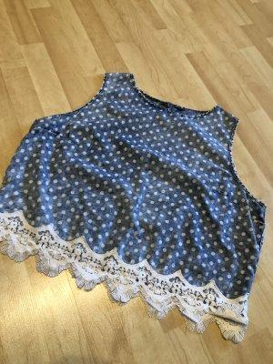 Backless Top white-cornflower blue