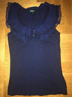 Ralph Lauren Frill Top dark blue viscose