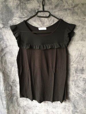 Top mit Rüschen Schwarz Frühling Sommer Black Shirt Kurze Ärmel