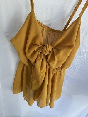Top con bretelline arancione chiaro-giallo-oro