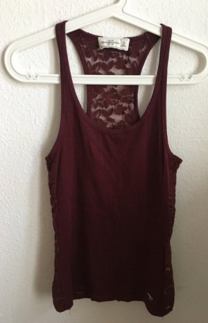Abercrombie & Fitch Backless Top dark red-carmine