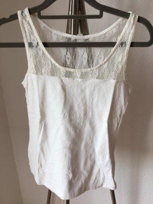 Esmara Tanktop biały Tkanina z mieszanych włókien