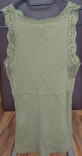 Amisu Koronkowy top zielono-szary-khaki
