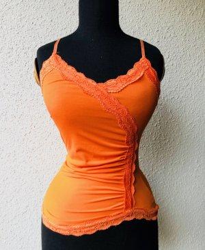 Top mit Spitzeneinsätzen, orange, Gr. XS