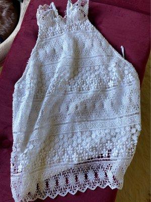 Stradivarius Crochet Shirt white