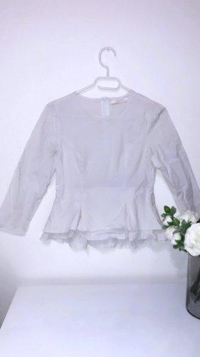 Top oberteil bluse hemd volants schößchen weiß