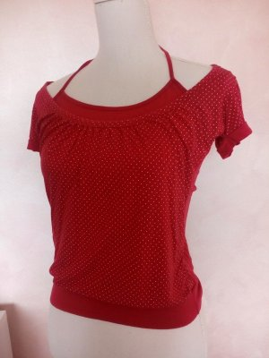 Made in Italy Carmen shirt wit-rood Viscose