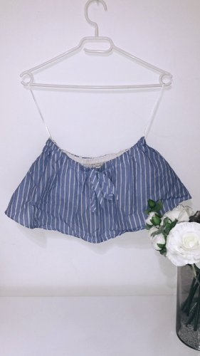 Top oberteil bluse shirt tshirt bandeau schulterfrei blau weiß gestreift sommer vintage pull&bear
