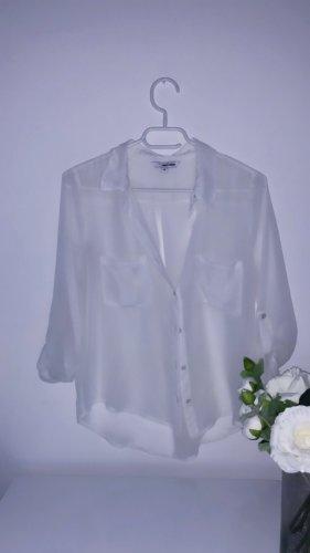 Top oberteil bluse weiß oversized sheer tshirt
