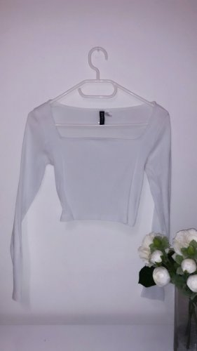 Top oberteil shirt square neck basic weiß cropped boho vintage
