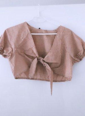 Top oberteil shirt tank crop bluse hemd pink rosa kariert