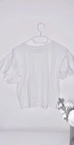 Top oberteil shirt tshirt rüschchen rüschen volants weiß