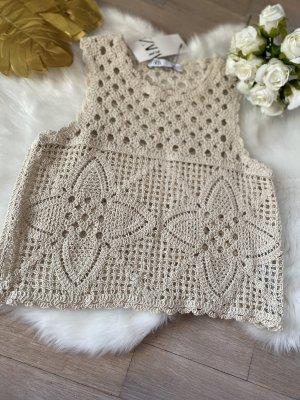 Zara Haut en crochet crème-blanc cassé