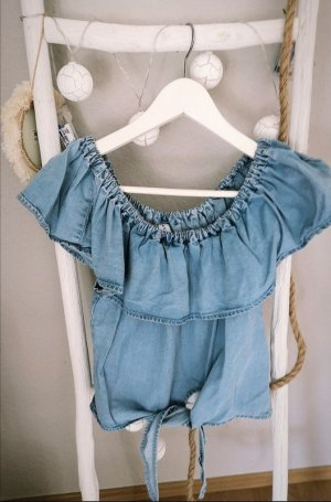 Top off shoulder Knoten Volants Jeans blogger hipster boho