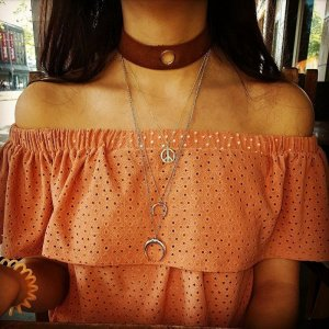 Top off shoulder Orange Lochmuster blogger hipster boho