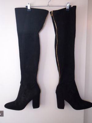 Guess Overknees black-gold-colored imitation leather