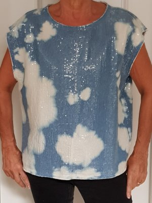 8PM Camisa de mujer azul neón-blanco