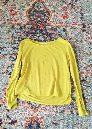 Promod Sweter z okrągłym dekoltem bladożółty Tkanina z mieszanych włókien