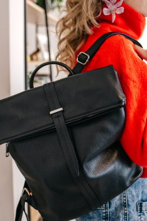 TOP Rucksack Lederrucksack Handtasche Ledertasche minimalistisch Schwarz