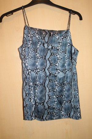 Top z cienkimi ramiączkami niebieski-czarny Tkanina z mieszanych włókien