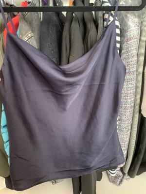 H&M Conscious Collection Haut en soie bleu foncé