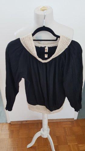 Carmen shirt wolwit-donkerblauw