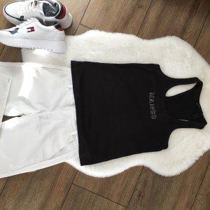 Mango Top estilo halter negro-blanco
