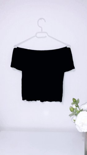 Top schulterfrei off shoulder shirt oberteil schwarz