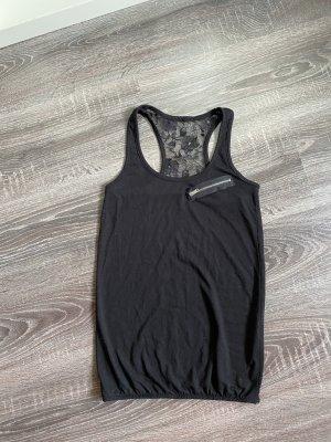 Top schwarz spitze Reißverschluss Shirt rücken transparent