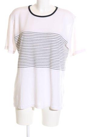Top Secret Kurzarmpullover weiß-schwarz Streifenmuster Casual-Look