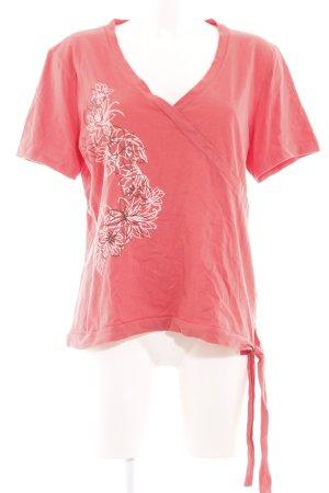 Top Secret V-Ausschnitt-Shirt pink-weiß Blumenmuster Casual-Look