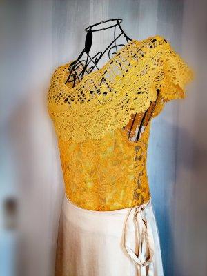 Crochet Top gold orange