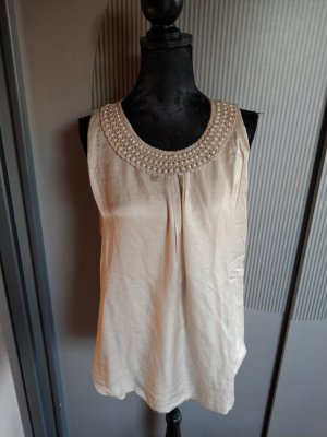 Top Shirt beige Perlen Made in Italy