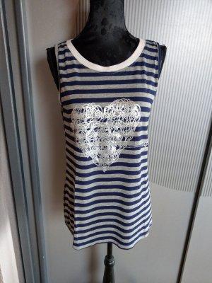 Top Shirt grau blau gestreift Made in itlay