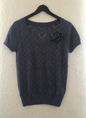 Gehaakt shirt blauw-donkerblauw