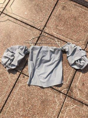 Top Shirt Oberteil schulterfrei gestreift Muster weiß schwarz grau Ärmel Puff sexy Sommer lolita