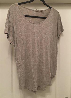 Top Shirt off shoulder grau beige Gr M oversized