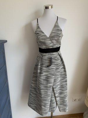 Top Shop Kleid 34 XS Uk 6 grau weiss schwarz A Linie NEU