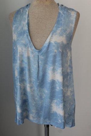 Top Sommer Batic blau weiß New Look schulterfrei Gr. 42 neu