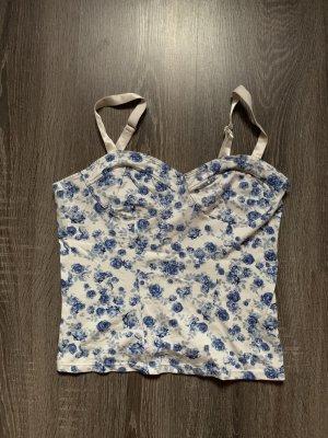 Top Sommer Blumenmuster blau weiß Rosen