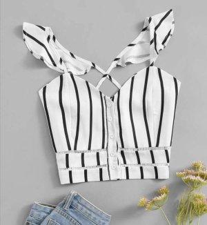 Rugloze top wit-zwart Polyester