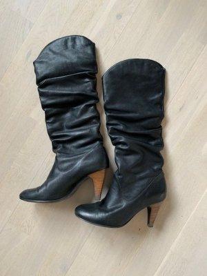 Top Stiefel Leder schwarz mit Absatz Gr. 38