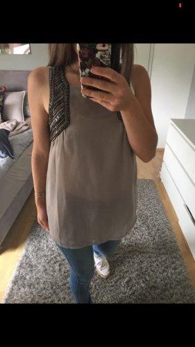 Top Tunika Bluse beige grau Pailetten Only 36