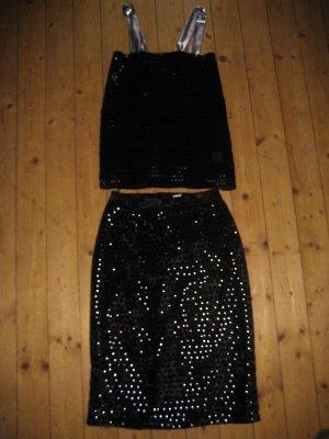 Top und Rock schwarz silber Gr 36