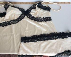 Conjunto de lencería negro-beige claro