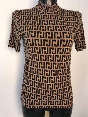 Amisu Camisa de cuello de tortuga negro-marrón