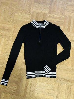 H&M Prążkowana koszulka czarny-biały