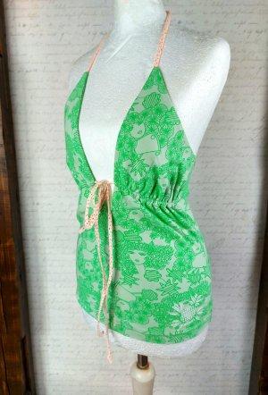 Mogul Top z wycięciem biały-zielony Bawełna