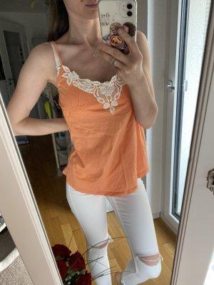 Pimkie Haut évasé en bas abricot-blanc