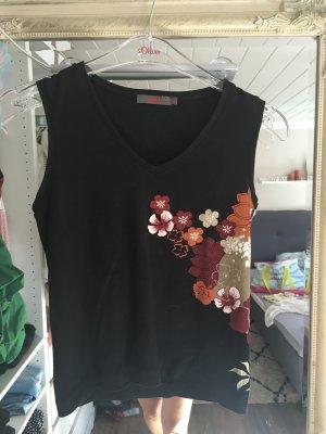Top von S.Oliver in schwarz mit buntem Blumenmuster Größe 34